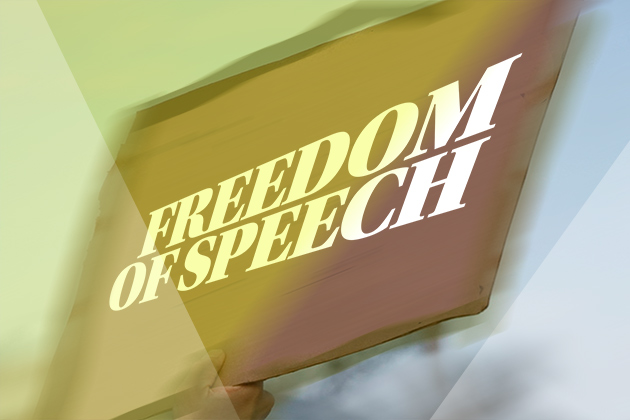 image of placard with Freedom of Speech